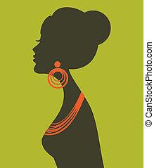 profil, elegancki, samica