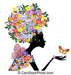 profil, motyl, dziewczyna, kwiat