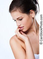 profil, piękna kobieta, młody