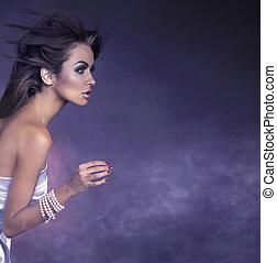 profil, portret, brunetka, młody, piękno