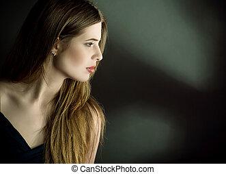 profil, portret, kobieta, młody, bok