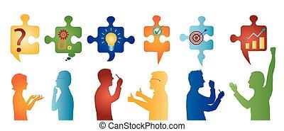 profil, symbols., barwny, handlowy zaludniają, solution., zagadka, rozwiązywanie, kawałki, team., pojęcie, klient, gesturing., problem, strategia, służba, success.