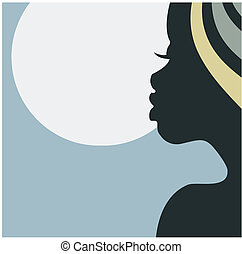 profil, twarz, kobieta, afrykanin