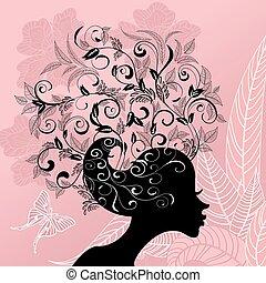 profil, włosy, dziewczyna, kwiaty, ozdobny