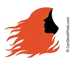 profil, włosy, kobieta, czerwony