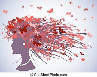 profil, włosy, motyle, kobieta