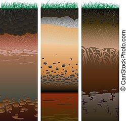 (profile)., cięty, kolumny, gleba