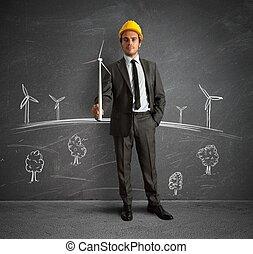 projekt, turbina, energia, wiatr