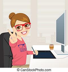 projektant, graficzny, kobieta, hipster, pracujący