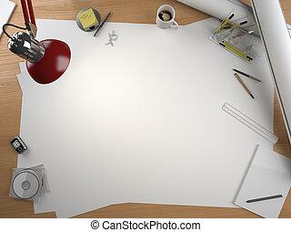 projektant, przestrzeń, elementy, stół, kopia, rysunek