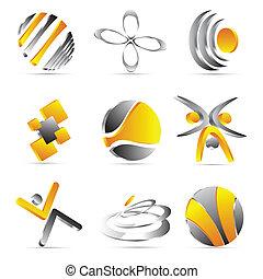 projektować, żółty, handlowe ikony