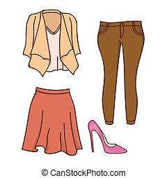 projektować, damska odzież, garnitur