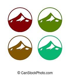projektować, dzieło, 4, barwny, różny, kolor, góry