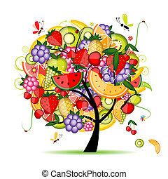 projektować, energia, drzewo owocu, twój