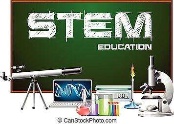 projektować, equipments, nauka, afisz, pień, wykształcenie