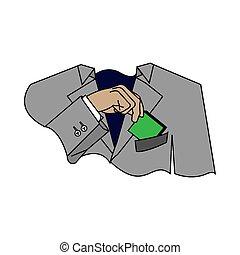 projektować, handlowy, sieć, twój, szary, ilustracja, człowiek, garnitur, druk, pieniądze, wziąć, albo