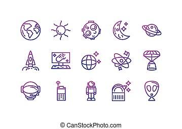 projektować, ikona, odizolowany, komplet, wektor, przestrzeń