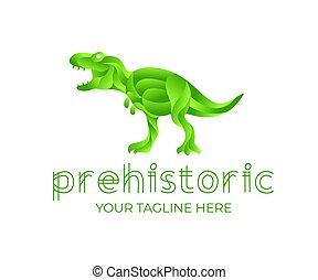 projektować, ilustracja, prehistoryczny, abstrakcyjny, design., styl, dinozaur, tyrannosaurus, zwierzę, tyranozaur, geometryczny, rex, zwierzę, zwierzę, logo, wstążka, wektor, natura