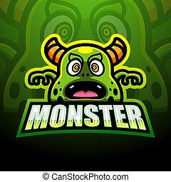 projektować, maskotka, logo, zielony potwór