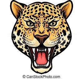 projektować, odizolowany, rysunek, maskotka, jaguar, głowa