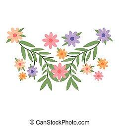 projektować, ozdoba, wektor, kwiaty, odizolowany