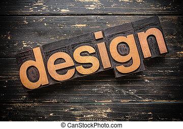 projektować, pojęcie, typ, letterpress, drewniany, słowo, rocznik wina