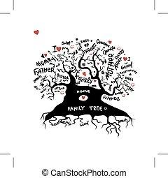 projektować, rys, drzewo, twój, rodzina