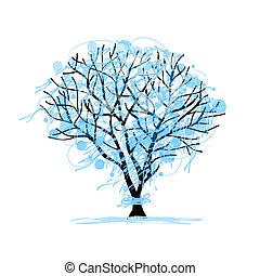 projektować, rys, drzewo zima, twój
