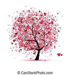 projektować, serca, drzewo, twój, valentine