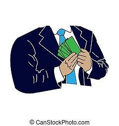 projektować, sieć, suit., twój, ilustracja, oprócz, druk, korupcja, pieniądze, albo