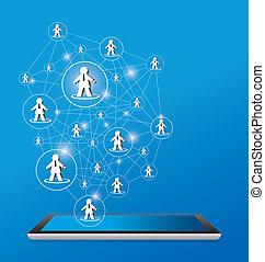 projektować, sieć, towarzyski