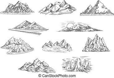 projektować, szkice, natura, krajobrazy, góra