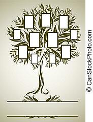 projektować, ułożyć, wektor, drzewo, rodzina