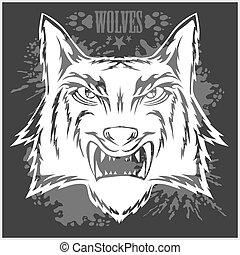 projektować, zupełny, sportowy, wilk, retro, head., maskotka