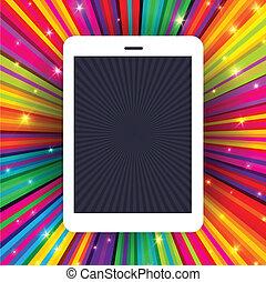 promienie, eps10, tabliczka, barwny, ilustracja, tło., wektor, urządzenie, konceptualny