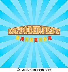 promo, oktoberfest, wektor, chorągiew, illustration.
