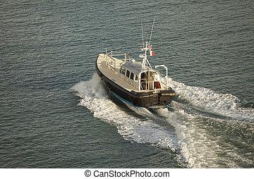 prospekt, antena, łódka, pilot