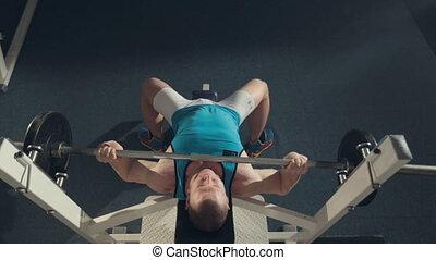 prospekt, atleta, barbell, ruch, górny, maszyna