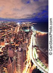 prospekt, chicago, panorama, antena, sylwetka na tle nieba