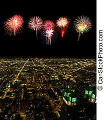 prospekt, cityscape, antena, chicago