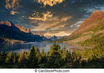 prospekt góry, jezioro, krajobraz, skala, lodowiec, na, montana, np