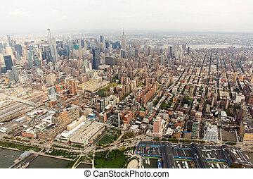 prospekt miasta, antena, york, nowy