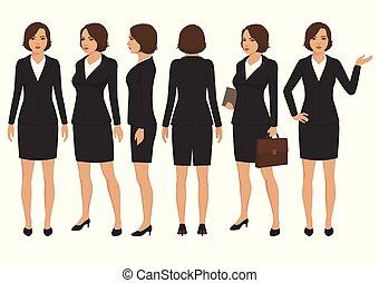 prospekt, sekretarka, bok, wstecz, rysunek, kobieta interesu, kobieta, przód, litera