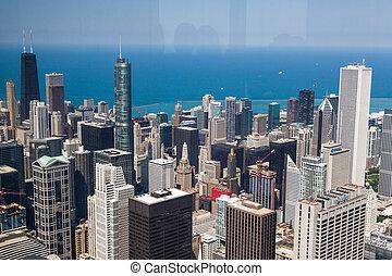 prospekt, sylwetka na tle nieba, panorama, chicago