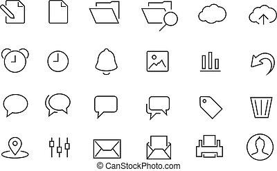prosty, dokument, komplet, gładzony, ikona