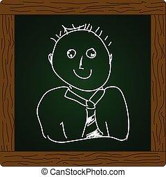 prosty, doodle, człowiek