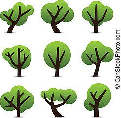 prosty, drzewo, ikony