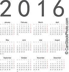 prosty, kalendarz, 2016, skwer, europejczyk