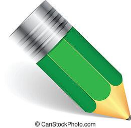 prosty, ołówek, zielony
