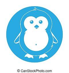 prosty, pingwin, sprytny, święto, zima, boże narodzenie, ilustracja